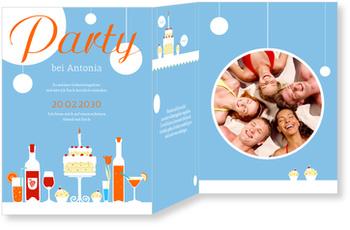 Einladungskarten Geburtstag, Geburtstagstisch in Blau