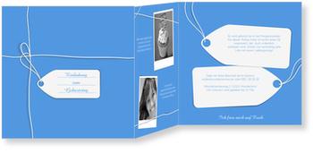 Einladungskarten Geburtstag, Ein Geschenk in Blau