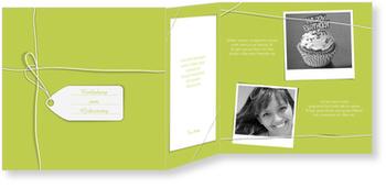 Einladungskarten Geburtstag, Ein Geschenk in Grün