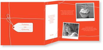 Einladungskarten 50. Geburtstag, Ein Geschenk in Rot