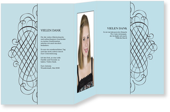 Danksagungskarten Konfirmation, Elegantes Dankeschön blau