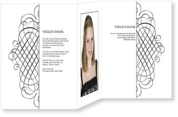 Danksagungskarten Konfirmation, Elegantes Dankeschön weiß