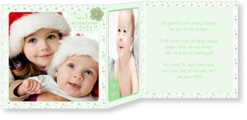 Weihnachtskarten Baby, Kleines Weihnachtsblümchen in Grün