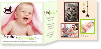 Weihnachtskarten Baby, Schaukelpferd in Grün