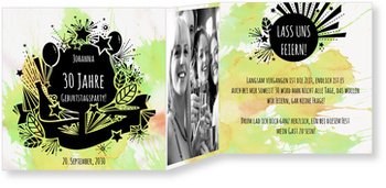 Einladungskarten Geburtstag, Lass uns feiern in Grün