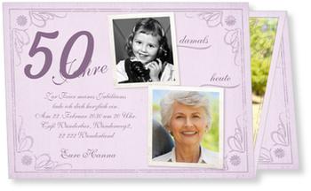 Einladungskarten 50. Geburtstag, Vintage in Lila