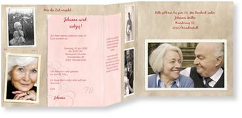 Einladungskarten 70. Geburtstag, Erinnerungsalbum in Rosé