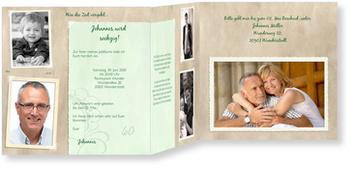 Einladungskarten 60. Geburtstag, Erinnerungsalbum in Grün