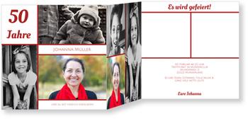 Einladungskarten 50. Geburtstag, Erinnerungsfotos in Rot