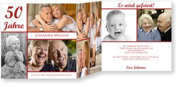 Einladungskarten Geburtstag, Erinnerungsfotos in Rot