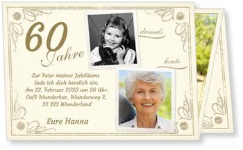 Einladungskarten 60. Geburtstag, Vintage