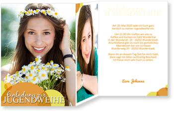 Einladungskarten Jugendweihe, Seifenblase in Orange