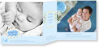 Einladungskarten Taufe, Kleines Vögelchen in Blau