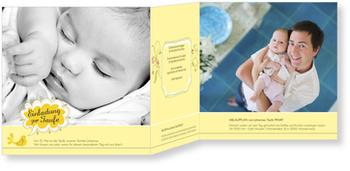 Einladungskarten Taufe, Kleines Vögelchen in Gelb