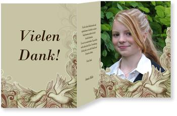 Danksagungskarten Konfirmation, Helige Taube in Grün