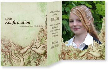 Einladungskarten Konfirmation, Heilige Taube in Grün