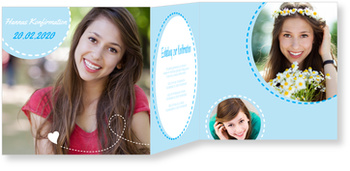 Einladungskarten Konfirmation, Herzlinie in Blau