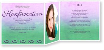 Einladungskarten Konfirmation, Ziervolle Ichthys in Grün