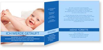 Einladungskarten Taufe, Meine schöne Taufe in Kornblumenblau