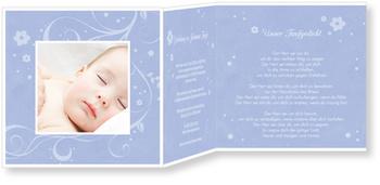 Einladungskarten Taufe, Portrait in Blau