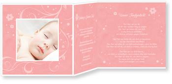 Einladungskarten Taufe, Portrait in Rosa