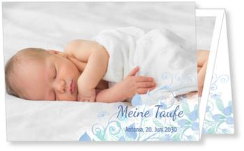 Einladungskarten Taufe, Aquarell in Türkis