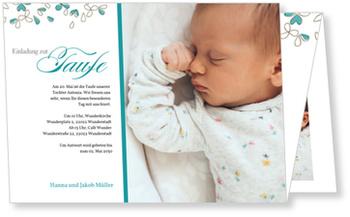 Einladungskarten Taufe, Blütentaufe in Blau