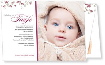 Einladungskarten Taufe, Blütentaufe in Kirschrot