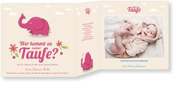 Einladungskarten Taufe, Kleiner Elefant in Pink