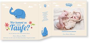 Einladungskarten Taufe, Kleiner Elefant