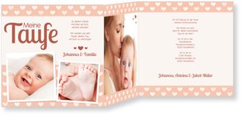 Einladungskarten Taufe, Herzilein in Apricot