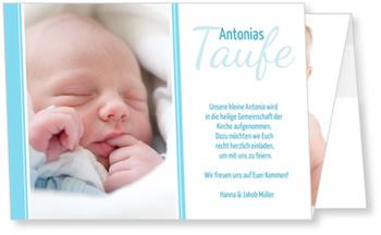 Einladungskarten Taufe, Moderne Einladung in Blau