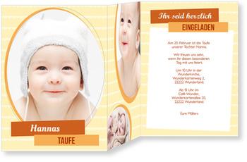 Einladungskarten Taufe, Portrait in Orange