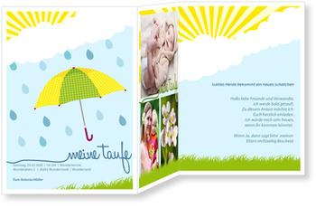 Einladungskarten Taufe, Regenschirm in Türkis