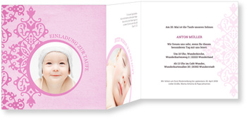 Einladungskarten Taufe, Zarte Ornamente in Rosa