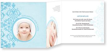 Einladungskarten Taufe, Zarte Ornamente