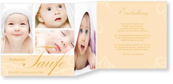 Einladungskarten Taufe, Zarte Verzierung in Apricot