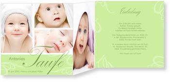 Einladungskarten Taufe, Zarte Verzierung in Grün