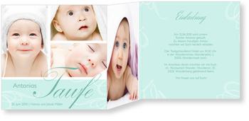 Einladungskarten Taufe, Zarte Verzierung