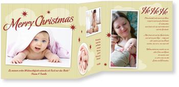 Weihnachtskarten Baby, Weihnachtshimmel in Gold