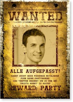Einladungskarten 30. Geburtstag, Wanted - 30 Jahre