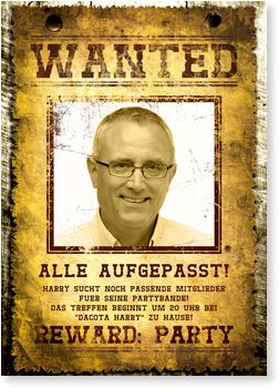 Einladungskarten 50. Geburtstag, Wanted - 50 Jahre