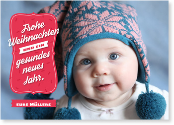 Weihnachtskarten Baby, Modernes Fest in Rot