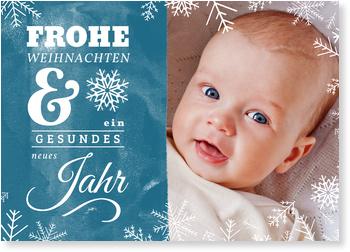 Weihnachtskarten Baby, Schneeflöckchen in blau