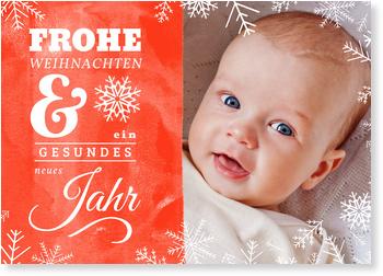 Weihnachtskarten Baby, Schneeflöckchen