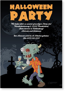 Einladungskarten Halloween ,  Zombie-Party