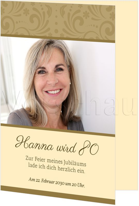 Einladungskarten 80 Geburtstag: Elegante Zierde Einladungskarten 80. Geburtstag