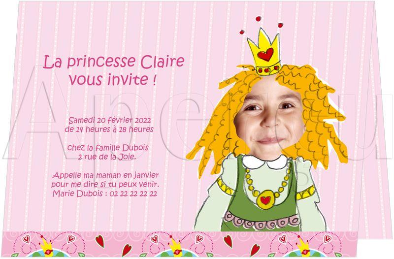 invitation de princesse cartes d 39 invitation anniversaire pour enfants. Black Bedroom Furniture Sets. Home Design Ideas