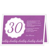 Elegante Einladung zum Dreißigsten in Violett