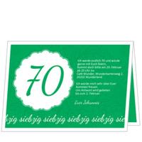 Elegante Einladung zum Siebzigsten in Grün